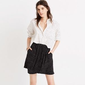 Madewell Silk Faux-Wrap Skirt in Scatter Dot